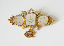 Christian Lacroix Paris signed Pin Brooch vintage 80s goldtone venetian mirror