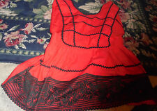 Halloween theatre costume womens top red black ric rac apron top black lace