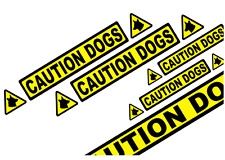 CAUTION DOGS TRIANGLES VEHICLE STICKER DECALS KIT               (s351)