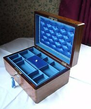 ANTIQUE VICTORIAN JEWELLERY BOX WALNUT TUNBRIDGE WARE & MOTHER OF PEARL INLAID