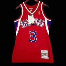 100% Authentic Mitchell & Ness Allen Iverson Sixers Red NBA Jersey Size 36 S