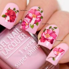 Nail Art Wraps Decals Water Transfer Red Vintage Tea Roses Salon Quality Y1017