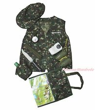 Halloween Army Commando Military Soldier Wargame Kid Costume Uniform 8P Set 3-7Y