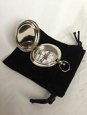 Push Button Nickel Finish Dalvey Hunters Pocket Compass with Black Pouch - Gift