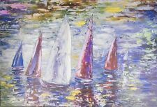 Sailboats Print on Wrapped Canvas Artist Lena Owens
