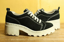 Vintage Cross Colors shoes 6 platform leather sneakers 90's hip hop black white