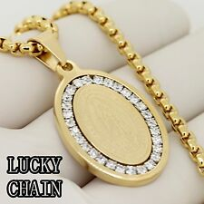 "MEN'S STAINLESS STEEL ICED OUT GOLD PENDANT 30"" ROUND BOX CHAIN/37g/E582"