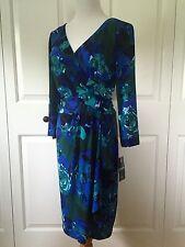CHAPS Ralph Lauren Empire Waist Dress V Neck 3/4 Sleeve LARGE    8-88572-26417-0