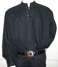 NEW Goth/ Pirate/ Medieval Fancy Dress Cotton Shirt, BLACK M