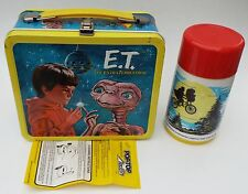 E.T. Extra-Terrestrial Kids School Metal Lunch Box w/Thermos 1982 Aladdin