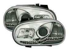 2 FEUX PHARE AVANT AVANT DEVIL EYES A LED POUR VW GOLF 4 A FOND CHROME - TDI GTI
