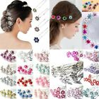 10/20Pcs Crystal Diamante Rhinestone Wedding Bridal Flower Hair Clip Hairpin Pin