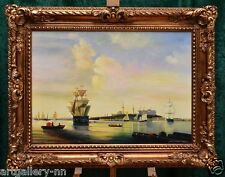 """""""VIEW OF OLD HARBOR"""" LISTED ARTIST LARGE SEASCAPE STRETCHED OIL PAINTING"""