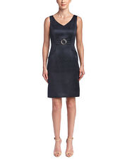 TAHARI ASL Navy Brocade Sheath Dress $128 Retail Size 6 NEW