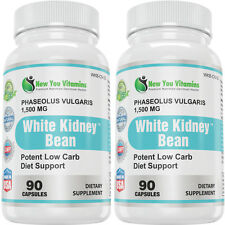 100% Pure White Kidney Bean Extract 1,500mg Carb Blocker 2Bottles New You