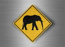 Autocollant sticker laptop macbook panneau route safari attention elephant