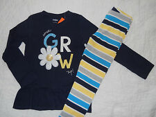 NWT GYMBOREE SIZE 7 YEARS FLOWER SHOWER LOT SET NEVER GROW UP TOP TEE LEGGINGS