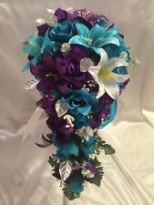 Turquoise Malibu Purple Lily Silk Rose Wedding Bridal Bouquet and groom