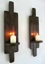 PAIR OF 60CM TALL RUSTIC WOOD FLOATING SHELF WALL SCONCE CANDLE HOLDER ART DECO
