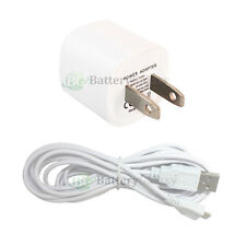 White USB Mini Wall Charger+USB 10FT Cord for Samsung Galaxy S6/Edge/Core Prime