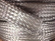 """25' Foot, 7/8"""" Tinned Copper Flat Braid Wire, Shielding Cable, Bare Ground Strap"""