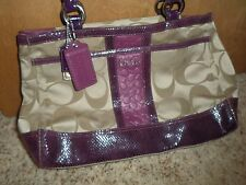 Coach 20353 Parker Signature Stripe Khaki Berry VGUC Carryall COACH Rare Purse-A