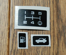 TOYOTA MR2 MK1 GEAR PATTERN PLATE STICKER, BOOT LEVER &1 FUEL FLAP STICKERS AW11