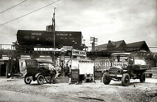 Vintage Old  Dome Gas Service Station 1920s Ford Model T & Truck photo print