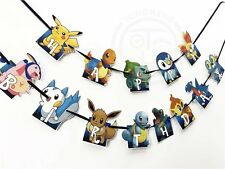 1x Pokemon Go Pikachu Banner Bunting Flag. Party Supplies Lolly Bag Room Deco