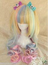 2015 New Gradient Rainbow ice Cream Cos Wig Long Curly Hair Lolita+gift