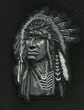 NATIVE AMERICAN INDIAN CHIEF FEATHERED HEADRESS MOTORCYCLE BIKER PATCH