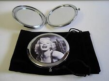 Marilyn Monroe Black & White Compact Mirror Make Up Travel & Black Velour Pouch