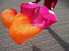 Schleierfächer Fächerschleier Pink Orange 180 cm Seide Bauchtanz Oriental-Stars