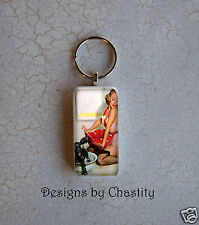 Pinup Scrabble Keychain Dog Groomer Pin up Girl in Red Splashed Domino Art Charm