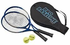 NEW PRO BASELINE 2 ALUMINIUM TENNIS RACKETS + 2 BALLS SET KIDS BOYS GIRLS GIFT
