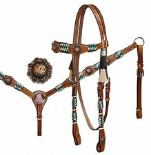 TEAL Rawhide Western Leather Bridle & Breast Collar & Reins Set New Horse Tack