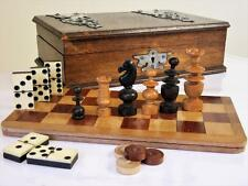 ANTIQUE FRENCH CAMPAIGN COMPENDIUM GAMES +FOLDING CHESS BOARD IN  NICE BOX