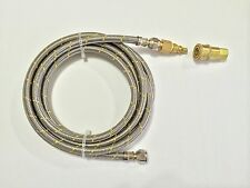 RV Motorhome LP Gas 10ft Quick Connect Stainless Steel Braided Hose Grill BBQ
