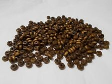 300pcs 6mm x 2mm WOODEN Donut Saucer Spacer Beads - BROWN ( 2 ) small wood craft