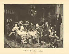 Food & Wine, If The Cats Away, Servants Celebrate, 1893 German Antique Art Print