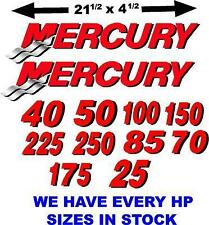 2  XLG MERCURY OUTBOARD BOAT MOTOR DECAL,STICKER,DECALS red/blk
