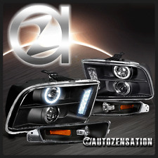 05-09 Ford Mustang Black Halo LED Projector Headlights & Bumper Lights