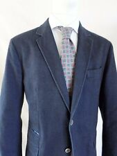 MASSIMO DUTTI navy blue herringbone cotton unlined blazer coat jacket 54 42S