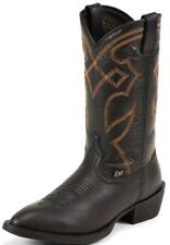 Justin Boots Cowboy Western Black Cowhide Leather Top & Bottom NEW size 8 1/2 D