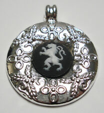 "Wedgwood Cameo in Silver-Plated Pendant- ""Heraldic Lion"" Black & White Jasper"