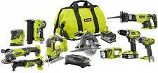 Ryobi Cordless Combo Power Tool Kit 10 Tools ONE+ 18-Volt Lithium-Ion P1895 NEW