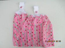2 Hanging Kitchen Dish Towels With Crochet Tops  Tiny Valentine Hearts & Stripes