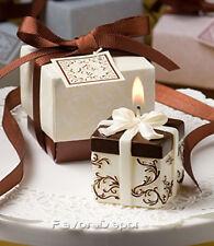 50 Brown and Ivory Damask Candle wedding favors Wedding favor Bridal Shower