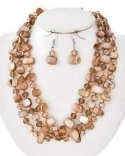 MULTI BROWN SHELL AND FACETED GLASS BEAD NECKLACE EARRING SET