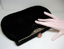 Antique Velvet Bag Clutch Purse ~Sterling Marcasite & Pink Jade Jeweled Frame